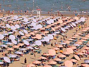Italy, Udine, View of beach with sunshades