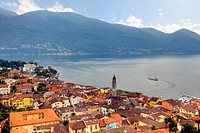 Ascona, Switzerland from the air with the Lake Maggiore