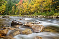 Ammonoosuc River in Carroll, New Hampshire USA during autumn months