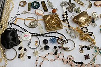 Flea market display of jewellery