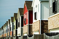 A row of colorful suburban homes