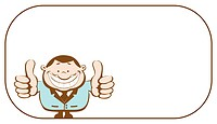 Businessman with copy space showing thumbs up. Vector illustration