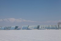 Solar energy facility on a winter day