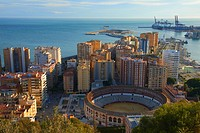 Malaga, Bullring and Port, View from Gibralfaro, Costa del Sol, Andalucia, Spain.
