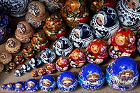 a group of Russian Dolls for sale to tourists in a craft market near the Church on Spilled Blood