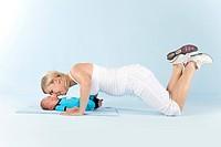 Gymnastics with a baby
