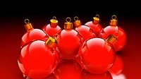 Chirstmas baubles in glossy red and golden as holidays background