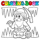 Coloring book cartoon dwarf miner _ picture illustration.