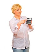 Senior woman with calculator isolated