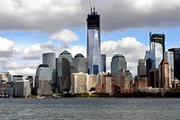 New York City Downown Skyline including the under construction Freedom Tower, the World Trade Center and Battery Park City