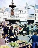 Operation Overlord, Cherbourg, military, liberated, fountain, market, city, World War II, France, 1944, Invasion