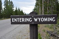 WYOMING USA Sign in Yellowstone National Park