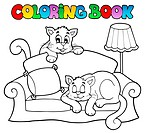 Coloring book sofa with two cats _ picture illustration.