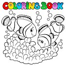 Coloring book two cute clown fishes _ picture illustration.