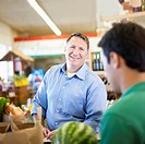 Caucasian man shopping in grocery store