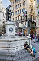Fountain at Graben street,Vienna, Austria, Europe