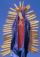 representation in painted wood of Our Lady of Guadalupe, Mexican saint