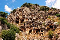 Pictures & images of the ancient Lycian rock cut tombs town of Myra, Anatolia, Turkey