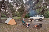 Camper at evening campfire, under live oaks at Goose Island State Park, Gulf Coast, Texas, USA