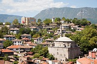 asia, turkey, central anatolia, ancient town of safranbolu, view with koprulu mehmet camii and old government building now city history museum