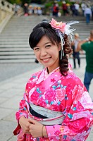 Young cute woman in traditional japanese costume, Kiyomizu-dera Temple, Kyoto