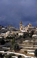 Snow on Valldemossa, Sierra de Tramuntana Majorca Balearic Islands Spain