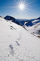 Footprints on a snow hill, Pe&#241;a Cerreos, Parque Natural Ubi&#241;as-La Mesa, Asturias, Spain