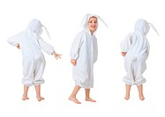 Dancing happy baby in a rabbit suit