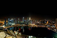 Singapore Central Business District Skyline Night Scene