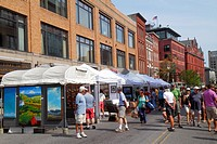 Maine, Portland, Congress Street, WCSH 6 Sidewalk Art Festival, artists, vendors, shopping, historic buildings