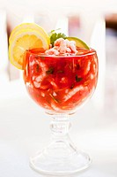 Mexican Style Shrimp Cocktail in a Glass Stem Bowl