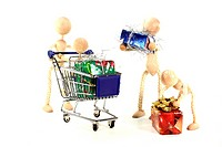 Familie beim Weihnachtseinkauf