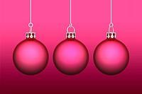 3x Weihnachtskugeln _ Hintergrund rot / pink