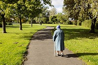 89 year old lady walking in public park in Billingham, England, United Kingdom