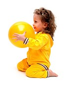 cute little girl playing with ball