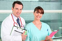 Confident doctor and nurse