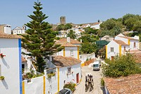 Rua da Mouraria, View of Obidos from the city wall, Castelo de Obidos, Obidos Castle, Obidos, Leiria District, Pinhal Litoral, Portugal.
