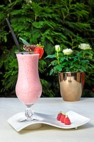 strawberry milkshake on the table