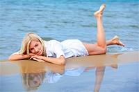 blonde girl on beach