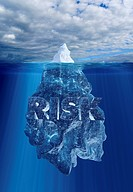 Iceberg above and below waterline and word ´risk´ underwater