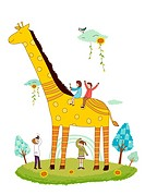 Giraffe and children