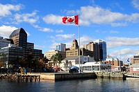 the waterfront in Halifax, Nova Scotia,Canada showing the museum of the atlantic and canadian flag