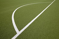 Germany, North Rhine Westphalia, Neuss, Painted lines on soccer field