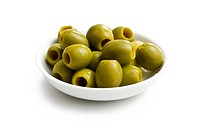 green olives in white bowl