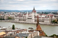 Hungary, Budapest, View of Hungarian Parliament Building at Danube River