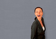 Portrait of businesswoman laughing outloud