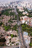 Aerial view, Cemitery of Araçá, Avenue Dr. Arnaldo, Consolação, São Paulo, Brazil