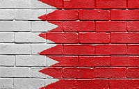 Flag of Bahrain painted onto a grunge brick wall