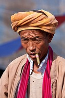 Myanmar, Burma  Burmese Man of Pa-O Ethnic Group at Local Market, Inle Lake, Shan State