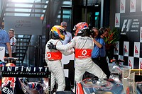 Jenson Button GBR McLaren Mercedes & Lewis Hamilton GBR McLaren Mercedes, F1, Australian Grand Prix, Melbourne, Australia